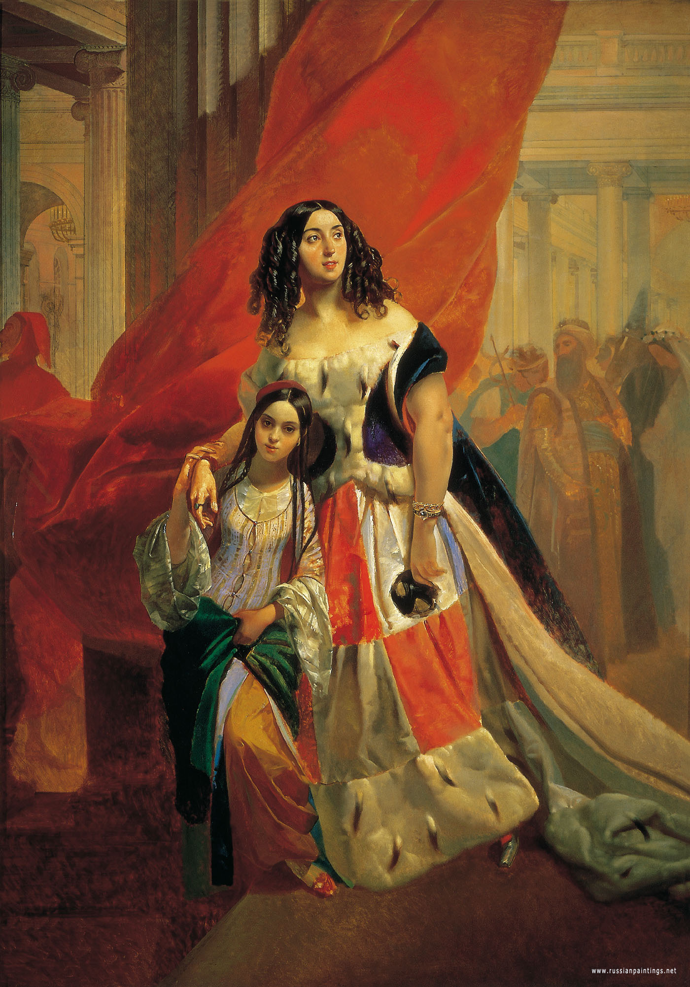 bryullov_karl_Portrait_of_the_Princess_Yuliya_Pavlovna_Samoilova_Retiring_from_the_Ball_with_Adopted_Daughter_Amaciliya_Pachchini_not_later_then_1842